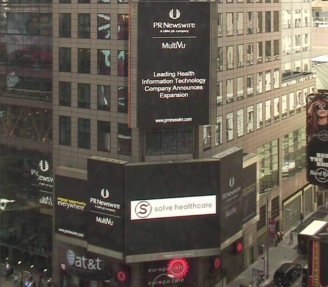 Solve Healthcare Featured on Reuters Screen in Times Square!